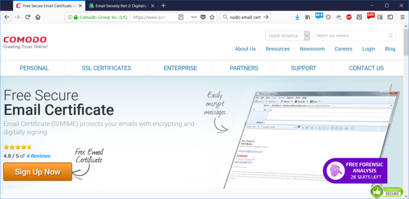 Make sure to start at this screen to apply for a Comodo email certificate.