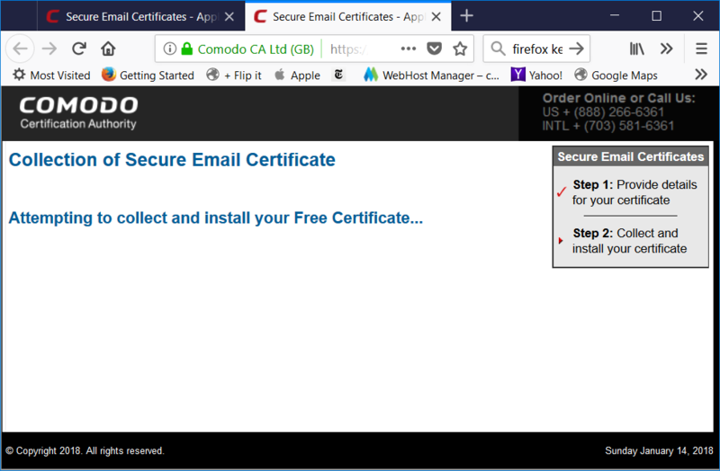 When you click on the Get Certificate link in the email that Comodo sends, it will open up a browser window to import the certificate into Firefox