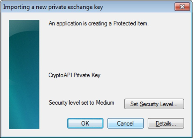 Screen capture of the certificate key access security setting in Microsoft Outlook