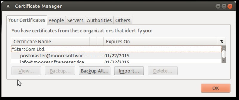 Screen capture of Thunderbird certificate manager dialog where you import S/MIME certificates.