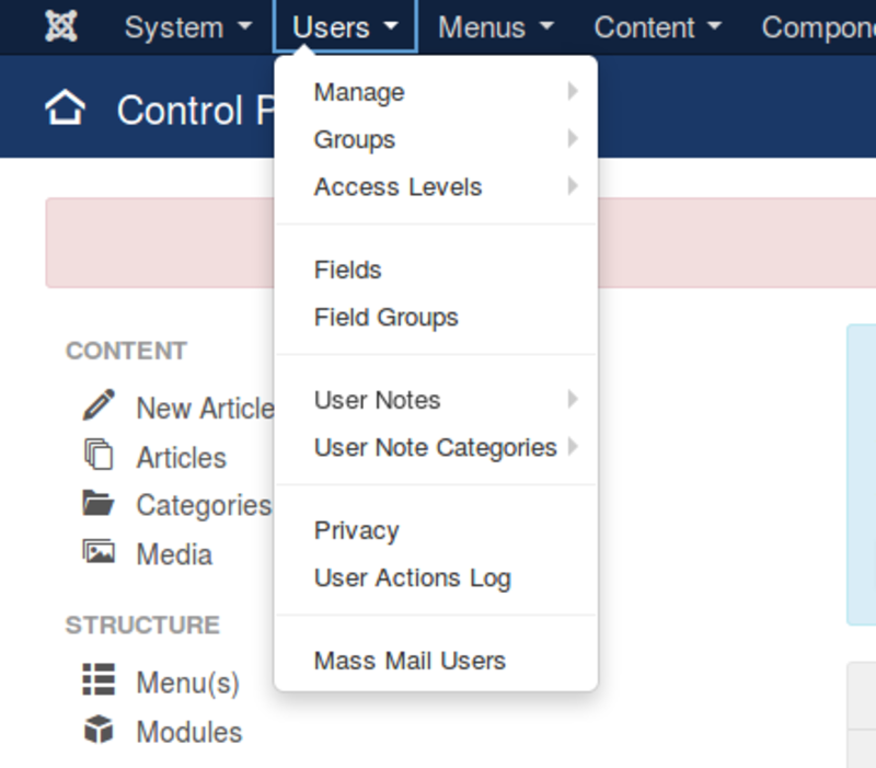 Joomla 3.9 introduces the Privacy and User Actions Log menu options to help with GDPR compliance.