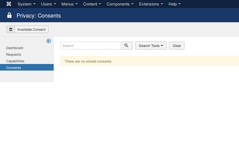 Joomla 3.9 introduces a list tracking consent for data collection for each site user.